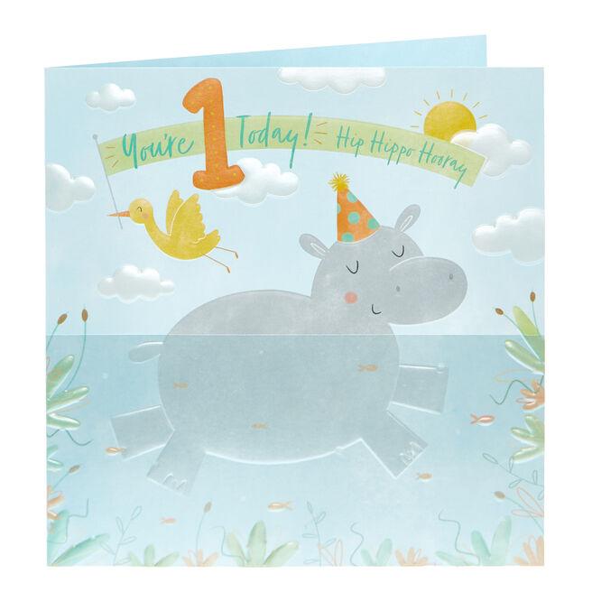 1st Birthday Card - Hip Hippo Hooray