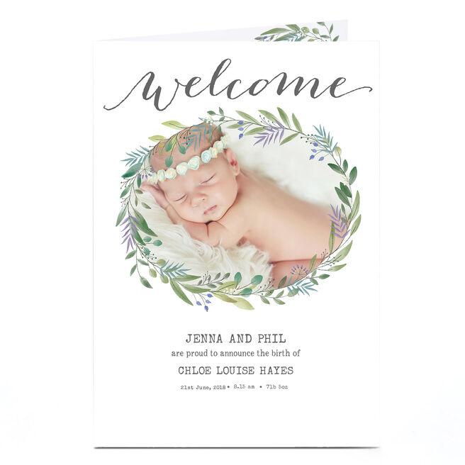 Photo New Baby Card - Modern Botanical