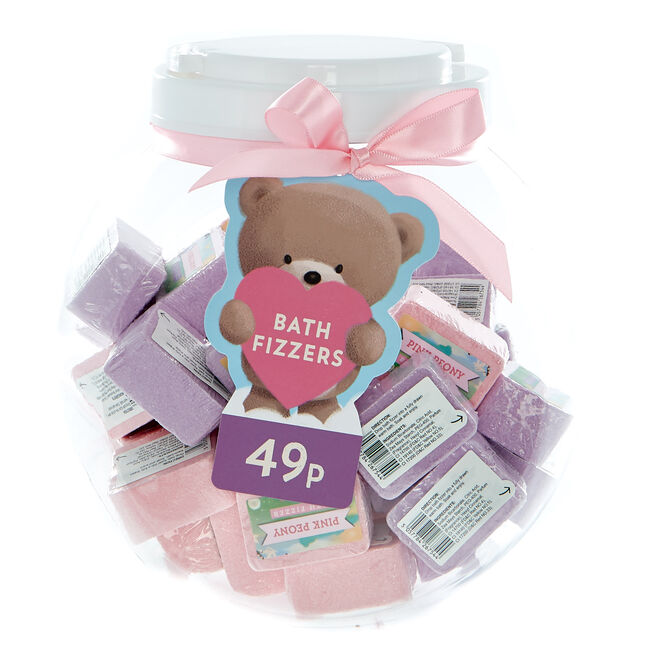 Hugs Bear Peony Bath Fizzers in a Jar - Pack of 40