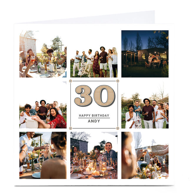Personalised Milestone Age Photo Card - Vintage Collage, Any Age