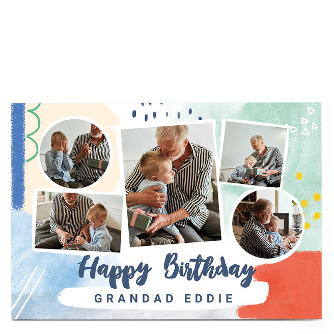 Photo Little Mono Birthday Card - 5 Frames