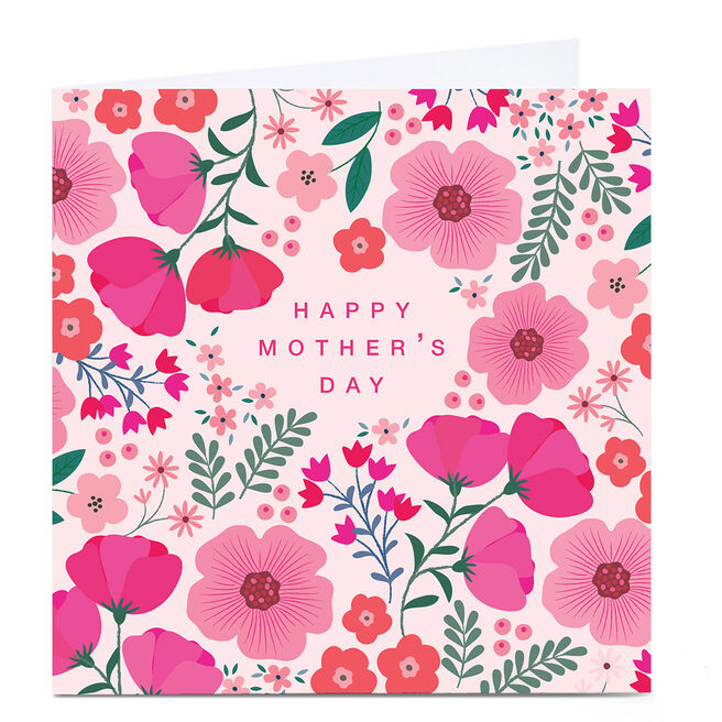 Personalised Klara Hawkins Mother's Day Card - Pink Flowers