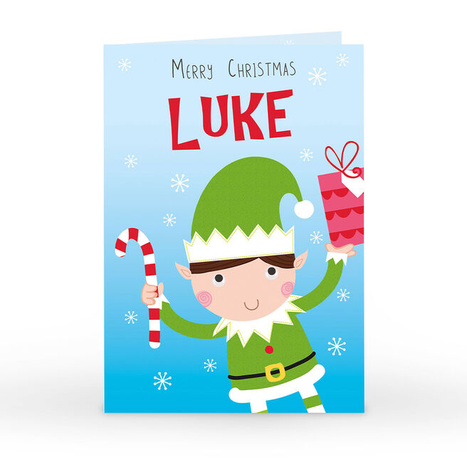 Personalised Christmas Card - Elf With Candy Cane