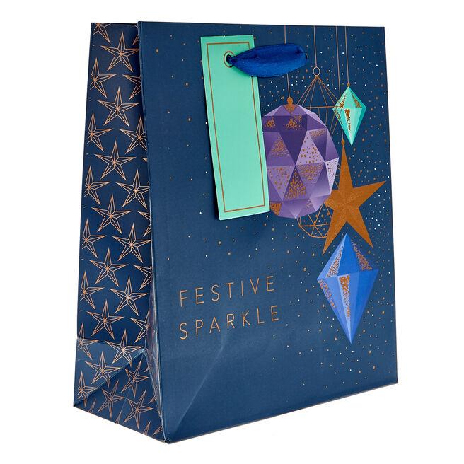 Small Portrait Festive Sparkles Christmas Gift Bag