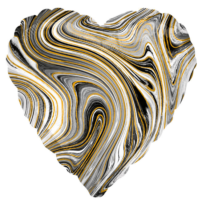 Black Heart Marble-Effect 17-Inch Foil Helium Balloon