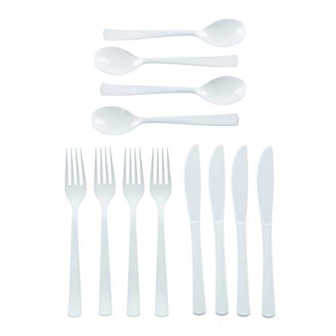 Reusable White Plastic Cutlery Set - 18 Pieces