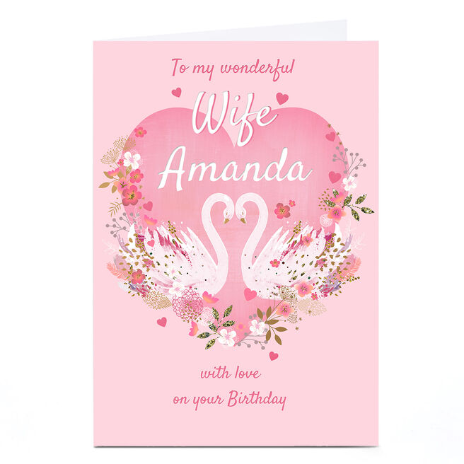 Personalised Kerry Spurling Birthday Card - Swans, Wife