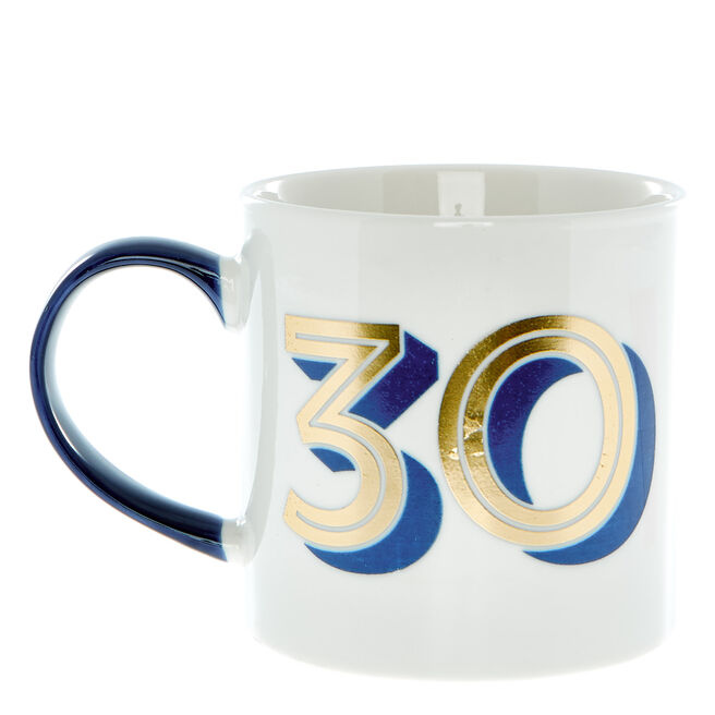 30th Birthday Mug In A Box - Blue & Gold