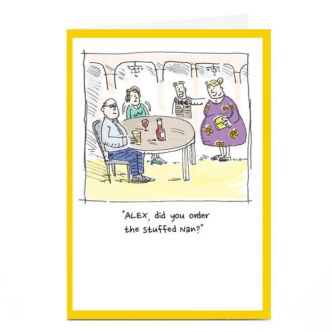 Personalised Vicar Of Scribbly Card - Stuffed Nan