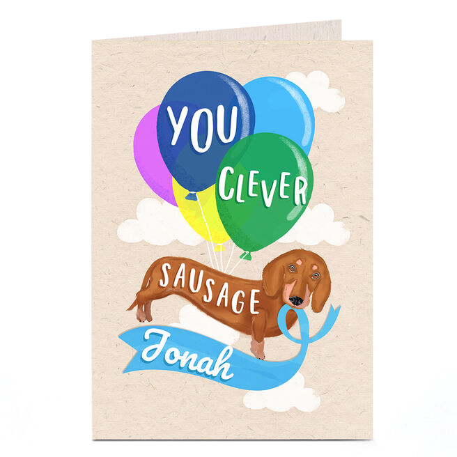 Personalised Congratulations Card - Clever Sausage Dog