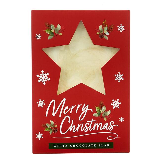 Merry Christmas White Chocolate Slab