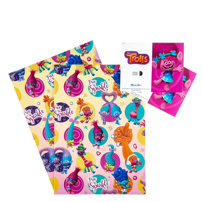 Trolls Sparkle Wrapping Paper & Gift Tags - Pack Of 2