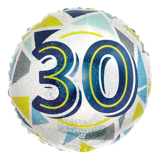 Geometric Blue & Yellow 30th Birthday 18-Inch Foil Helium Balloon