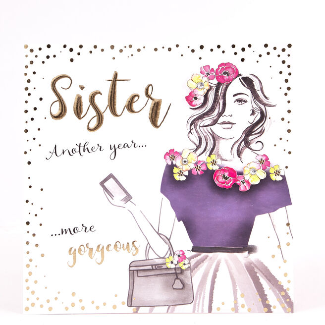 Boutique Collection Birthday Card - Gorgeous Sister