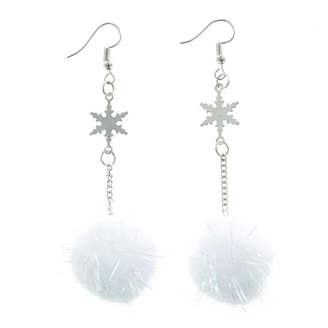 White Snowflake Pom-Pom Christmas Earrings
