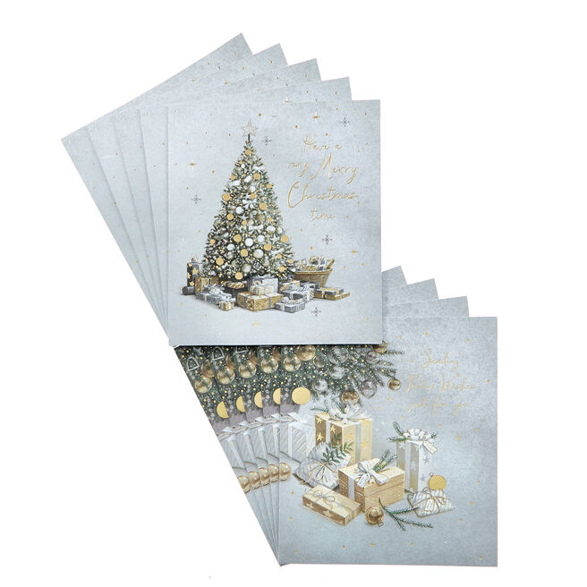 Box of 12 Deluxe Tree Charity Christmas Cards - 2 Designs