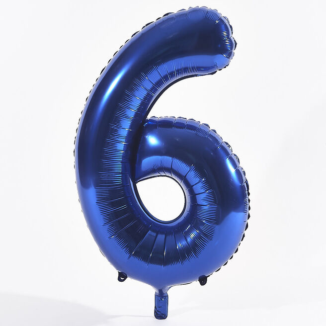 Blue Number 6 Foil Giant Helium Balloon (Deflated)