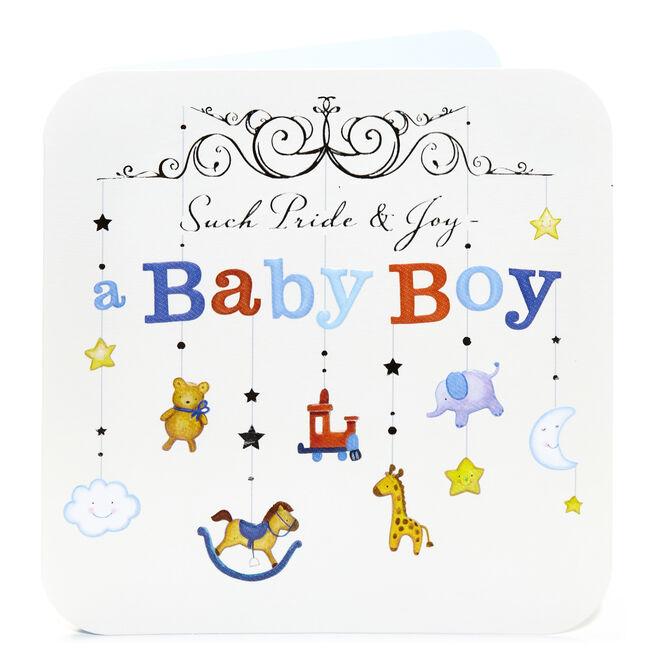 New Baby Card - Boy, Pride & Joy