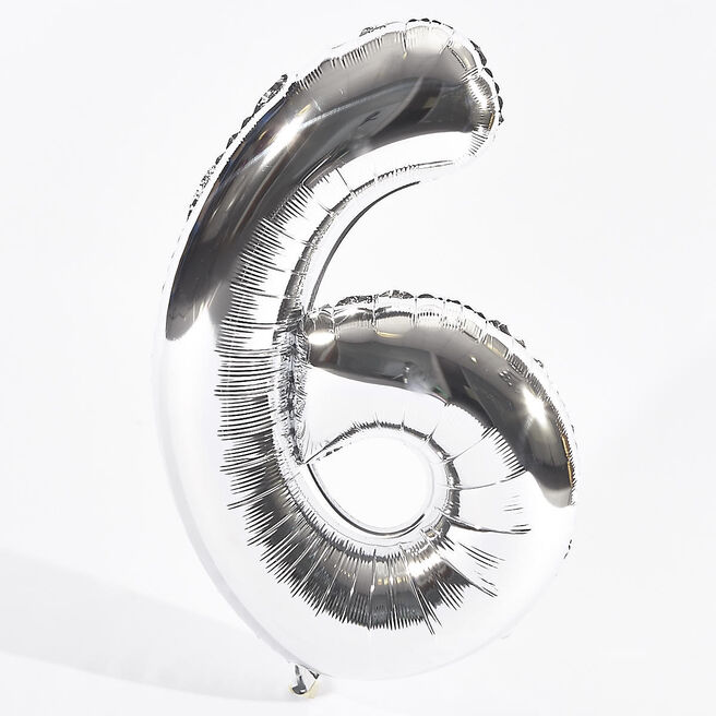 Silver Number 6 Foil Giant Helium Balloon (Deflated)