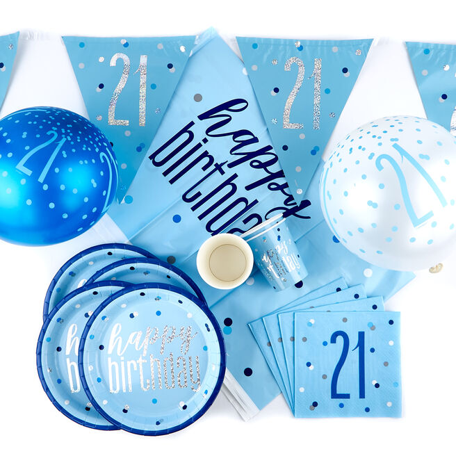 Blue 21st Birthday Party Tableware & Decorations Bundle - 78 Pieces