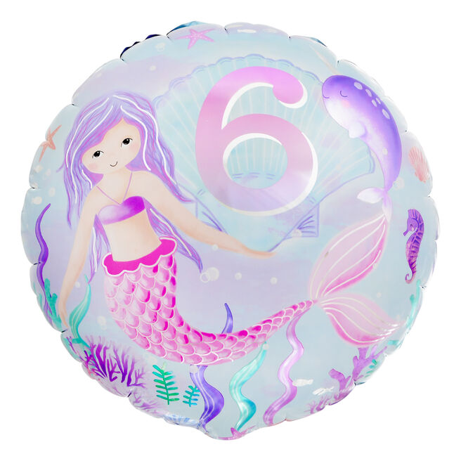 Mermaid 6th Birthday 18-Inch Foil Helium Balloon