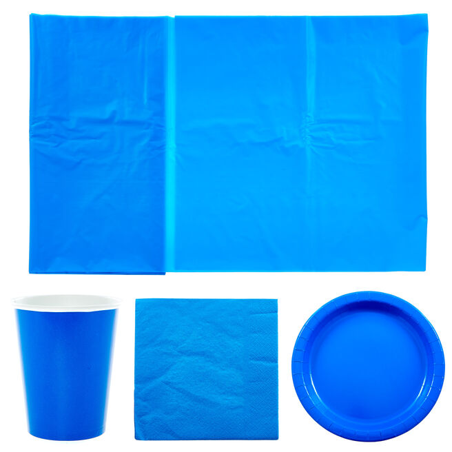 Blue Party Tableware Bundle - 37 Pieces