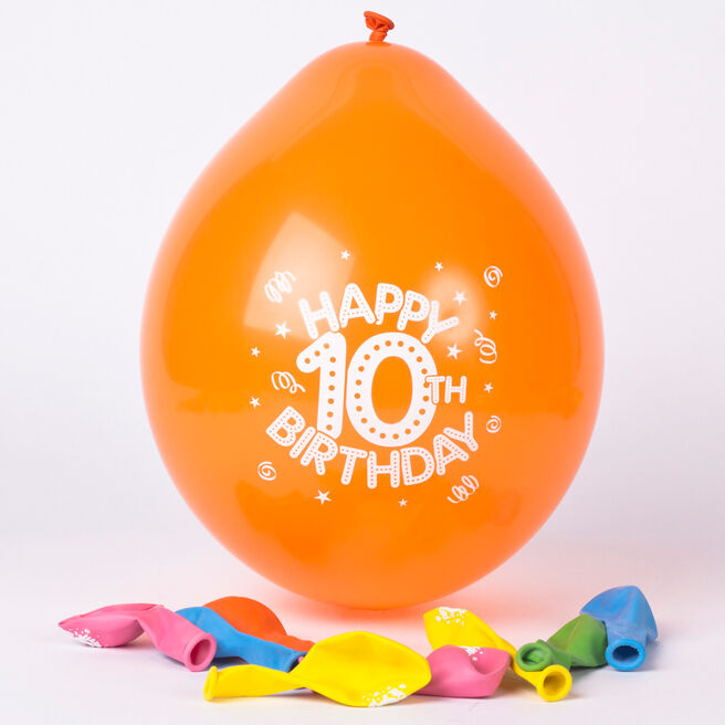 Multicoloured Age 10 Small Air-fill Latex Balloons - Pack Of 10