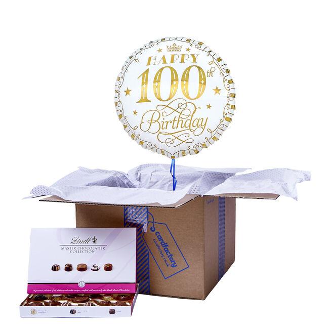 White & Gold 100th Birthday Balloon & Chocolate Box