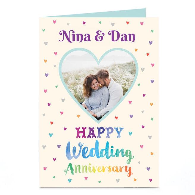 Photo Anniversary Card - Rainbow Hearts