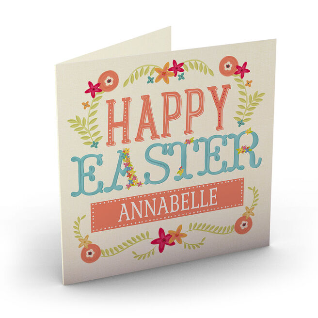 Personalised Easter Card - Orange Blue Green