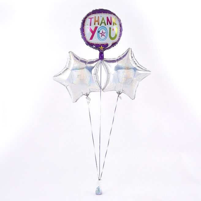 Purple Thank You Balloon with Silver Balloon Bouquet - The Perfect Gift!
