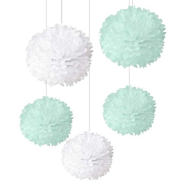 Unisex New Baby White & Mint Pom-Poms - Pack Of 5