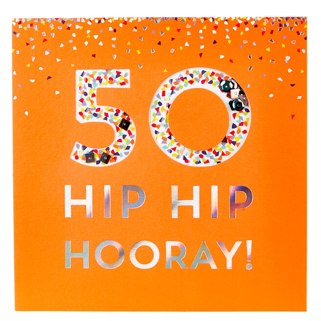 VIP Collection 50th Birthday Card - Neon Confetti