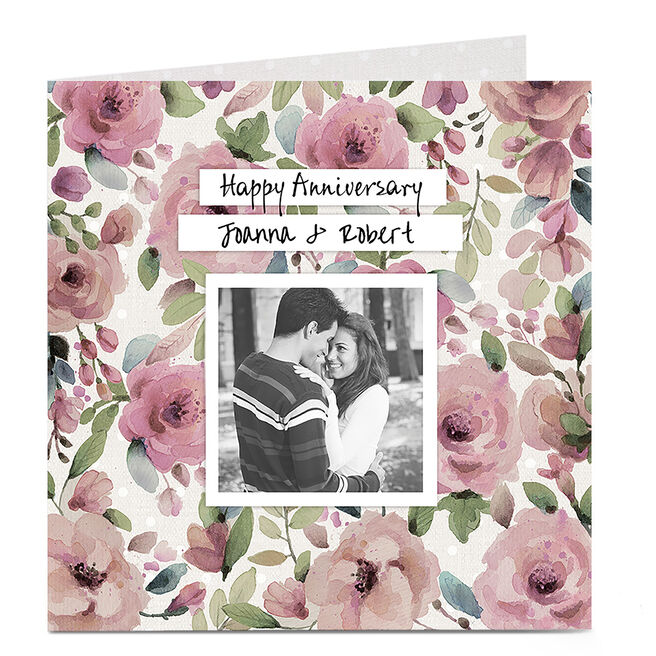 Photo Anniversary Card - Pink Flowers