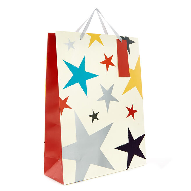 Large Portrait Gift Bag - Coloured Stars