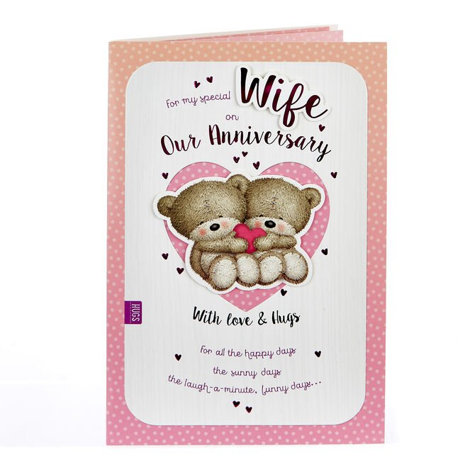Hugs Bear Anniversary Card - For My Special Wife
