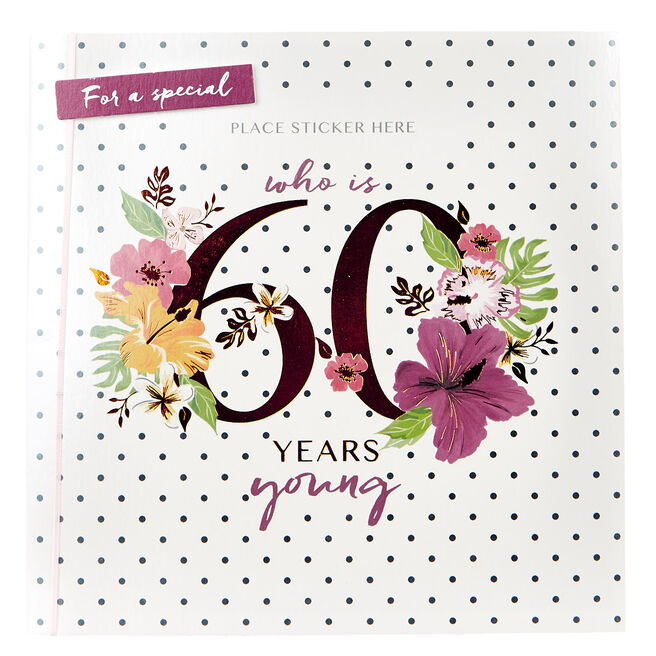 Exquisite Collection 60th Birthday Card - Any Female Recipient (Stickers Included)