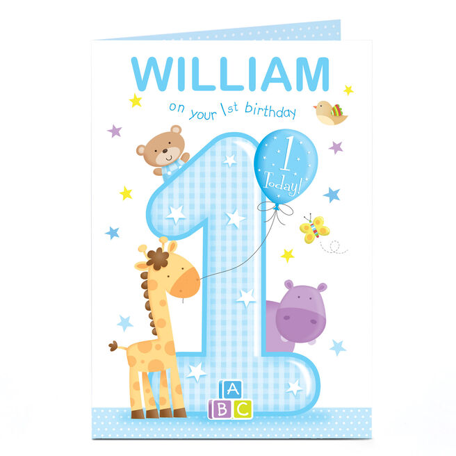 Personalised Birthday Card - Blue On Your First