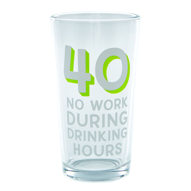 40th Birthday Pint Glass - Drinking Hours