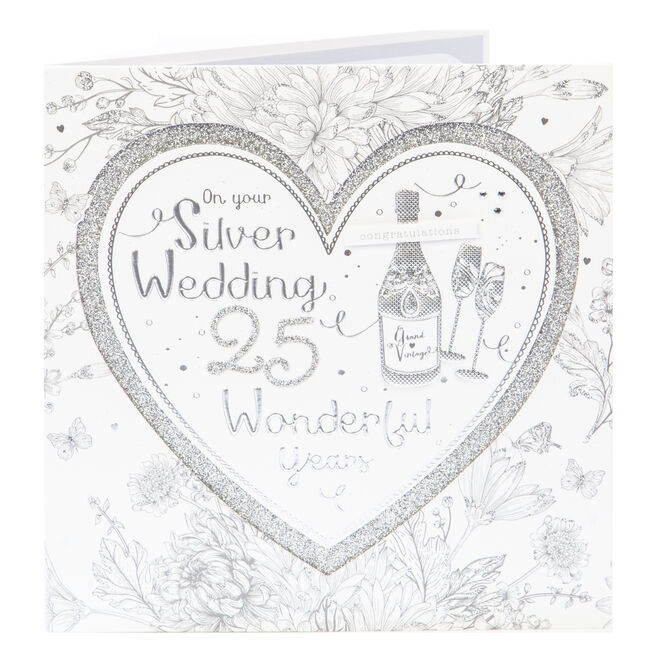 Exquisite Collection 25th Anniversary Card - Silver Wedding