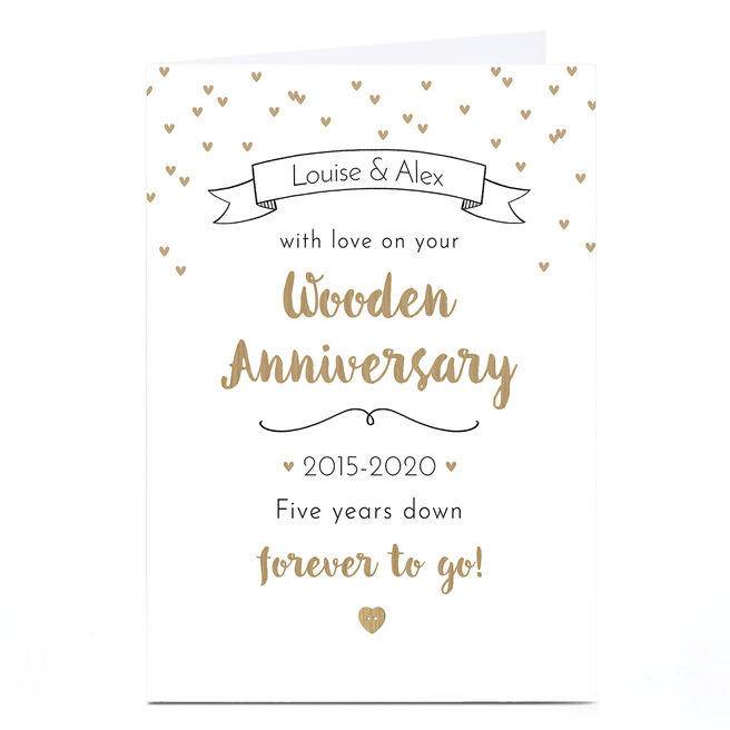 Personalised Anniversary Card - Wooden Anniversary