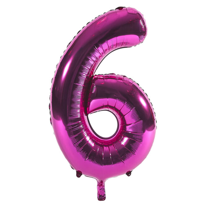 Pink Number 6 Foil Giant Helium Balloon (Deflated)