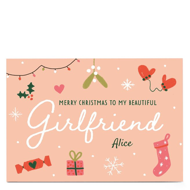 Personalised Juniper & Rose Christmas Card - Girlfriend