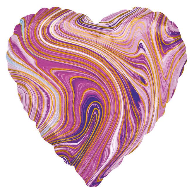 Purple Heart Marble-Effect 17-Inch Foil Helium Balloon