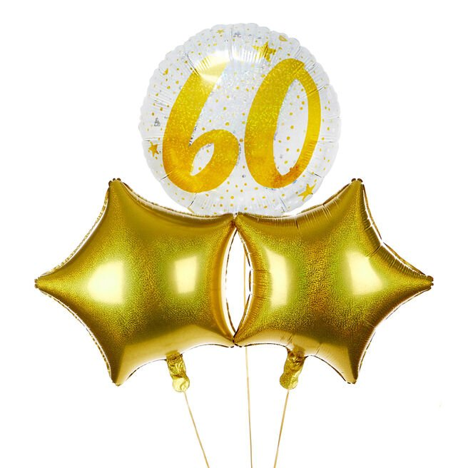 Gold & Silver 60th Birthday Balloon Bouquet - DELIVERED INFLATED!