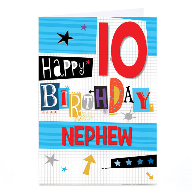 Personalised Any Age Birthday Card - Funky Letters [Nephew]