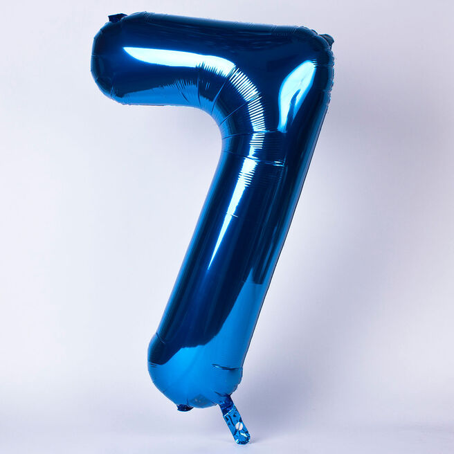 Blue Number 7 Giant Foil Helium Balloon INFLATED