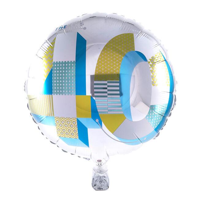 40th Birthday Silver Foil Helium Balloon