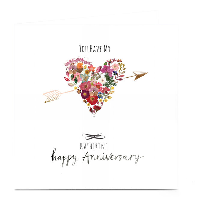 Personalised Emma Valenghi Anniversary Card - Heart