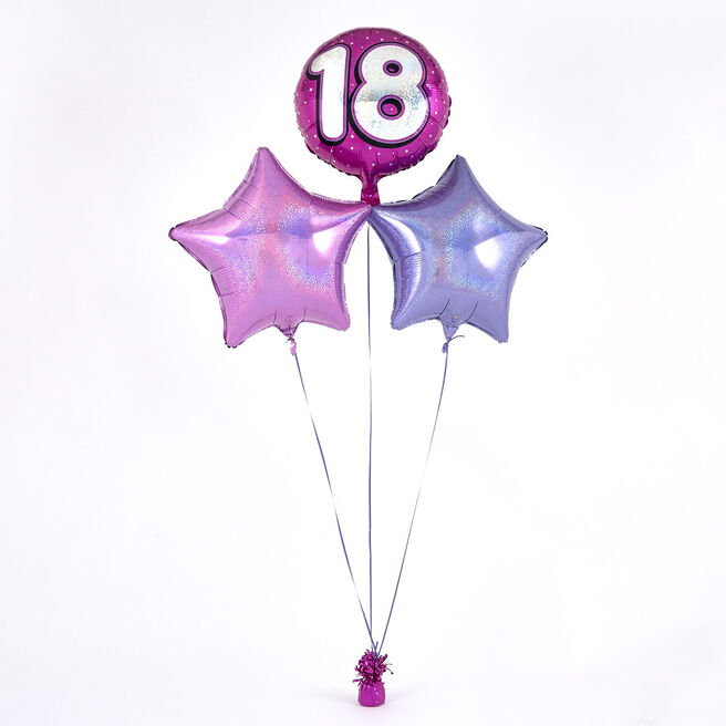 Pink 18th Birthday Balloon Bouquet - DELIVERED INFLATED!